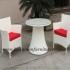 Mebel rotan jepara berjenis Kursi teras minimalis dengan warna putih yang elegan