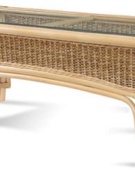 Meja rotan minimalis dengan sentuhan warna gloss