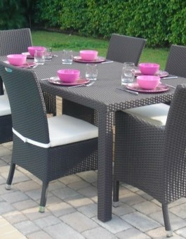 Set Meja Kursi Makan Restoran Cafe Furniture Rotan Sintetis