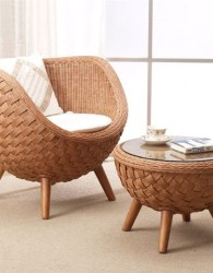 Kursi set rotan bulat / round rattan chair set