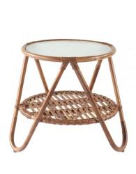 Meja rotan minimalis bulat dengan kaca / small round rattan table with glass