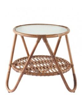 Meja rotan minimalis bulat dengan kaca