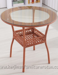 Meja furniture rotan minimalis apartemen