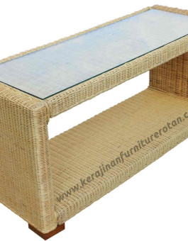 Meja tamu rotan kaca furniture rotan minimalis