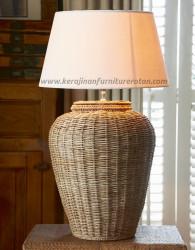 Lampu meja guci rotan furniture rotan minimalis modern