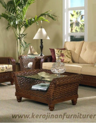 Set kursi rotan export furniture rotan minimalis walnut