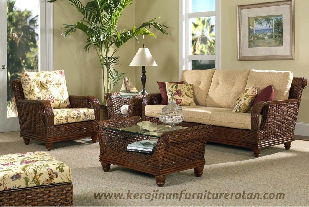 Set kursi rotan export furniture rotan minimalis walnut