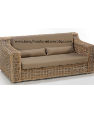 Sofa rotan minimalis export furniture rotan santai coklat