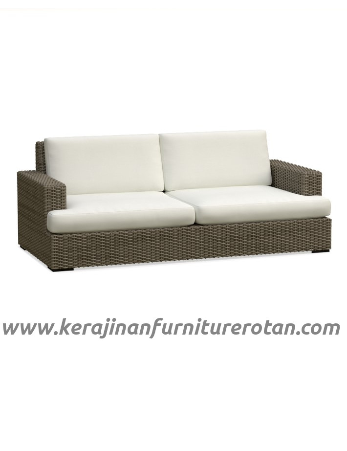 Furniture rotan export sofa rotan minimalis santai outdoor putih