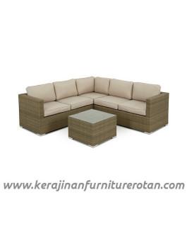 Furniture rotan export set sofa tamu rotan santai modern coklat