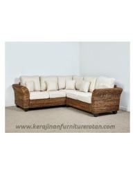 Furniture rotan export set sofa tamu sudut rotan modern santai