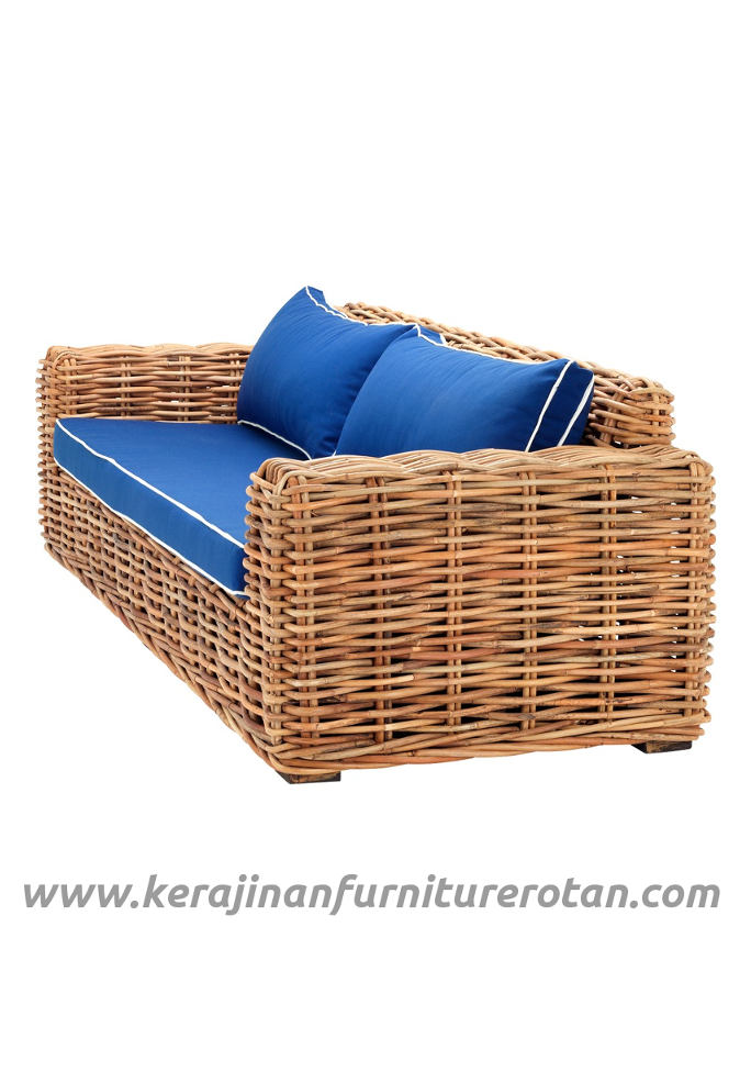 Furniture rotan export sofa tamu rotan santai modern blue