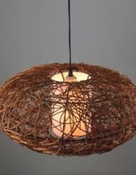 Mebel rotan untuk ruang tamu, hiasan lampu rotan dengan anyaman berbahan sintetis