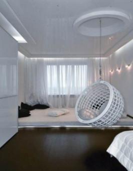 Sofa minimalis rotan warna putih dengan desain bucket