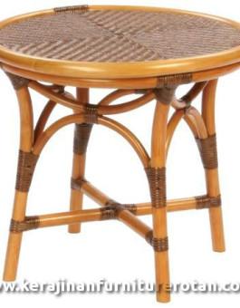 Meja furniture rotan antik bulat