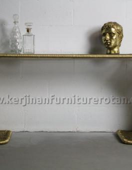Meja emas furniture rotan minimalis