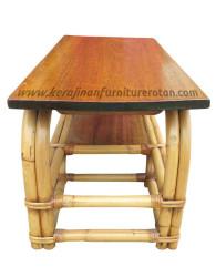 Furniture rotan meja makan kayu minimalis