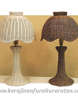 Lampu meja rotan couple furniture rotan minimalis modern