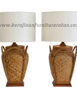Lampu meja rotan antik jawa furniture rotan klasik
