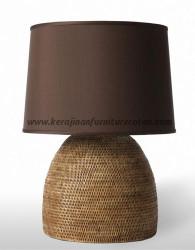 Lampu meja rotan bulat furniture rotan modern minimalis