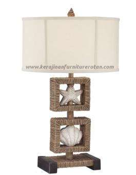 Lampu meja rotan minimalis kerang furniture rotan modern