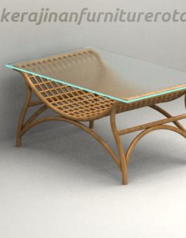 Meja kaca rotan minimalis exort furniture rotan modern