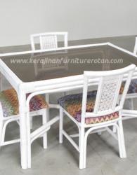 Set meja makan rotan minimalis export furniture rotan minimalis putih