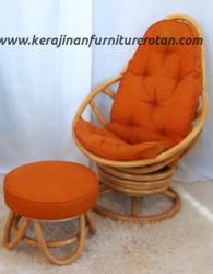 Set kursi santai rotan export oranye furniture rotan minimalis
