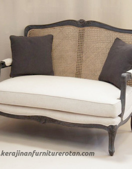 Sofa rotan minimalis export furniture rotan modern putih