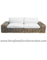 Furniture rotan export sofa rotan santai minimalis putih
