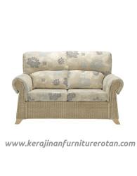 Furniture rotan export sofa rotan klasik putih bunga