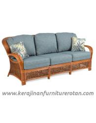 Furniture rotan export sofa tamu klasik retro coklat